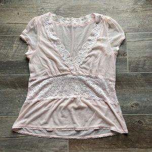 Vintage blush pink lace sheer shirt